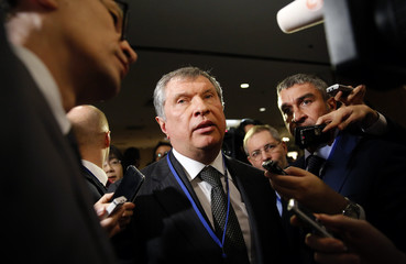 Rosneft Chief Executive Officer Sechin speaks to the media after attending the Japan-Russia investment forum in Tokyo