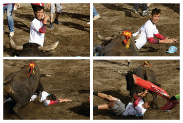 A combination of four pictures shows a man being hit by a bull during a traditional bullfighting festival in San Jose, Costa Rica