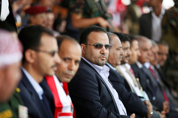 Saleh al-Sammad who heads the Supreme Political Council attends a rally held to show support to the council in the capital Sanaa