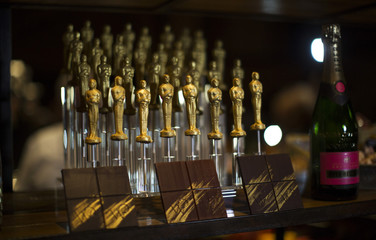 Oscar shaped chocolates are pictured at preview of food and decor for 87th Academy Awards' Governors Ball at Ray Dolby ballroom in Hollywood
