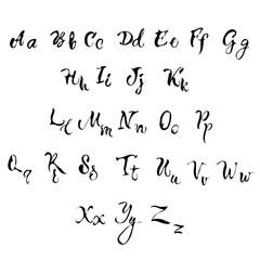 Handwritten lettering font aphabet
