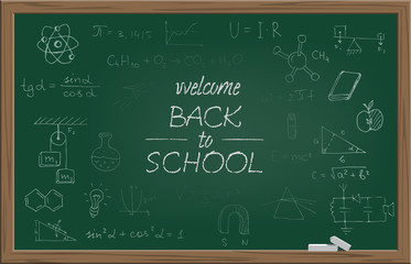 Green school blackboard with chalk WELCOME BACK TO SCHOOL text and different school symbols. Vector illustration.