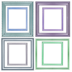 set of color picture frame on white background