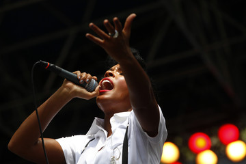 Musician Janelle Monae performs at the CarolinaFest 2012 street festival in Charlotte
