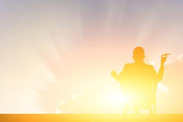 silhouette of businessman