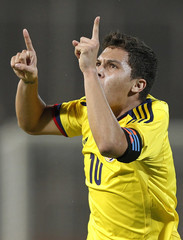 Colombia's Quintero celebrates a goal against Paraguay during the South American Under-20 soccer championship in Mendoza