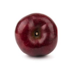 Burgundy red apple. Isolated on white background. View from above.