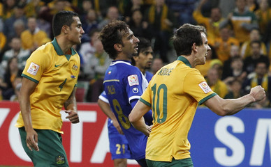 Australia's Tim Cahill reacts after scoring during their Asian Cup Group A soccer match at the Rectangular stadium in Melbourne