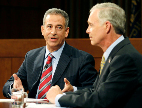 U.S. Senate candidates Russ Feingold and Ron Johnson debate at Marquette University in Milwaukee, Wisconsin