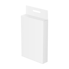 White paper box mockup with hang tab - half side view. Template for your design ideas. Vector illustration