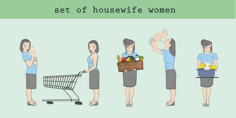 A set of women housewives in different poses. Hand drawn cartoon vector illustration for design and infographics.