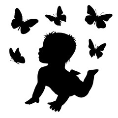 Vector silhouette of baby butterfly on white background.