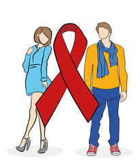 Young couple on red ribbon background. Symbol of the struggle with AIDS. vector illustration