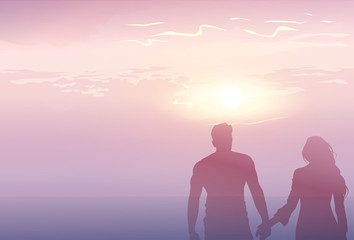 Silhouette Romantic Couple Holding Hands At Sunset Lovers Man And Woman Copy Space Flat Vector Illustration