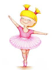 hands drawn picture of little beautiful girl ballet dancer in pink dress on white background by the color pencils