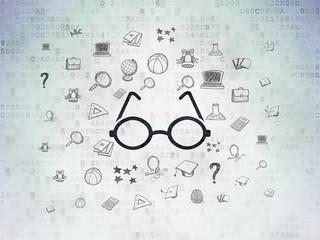 Learning concept: Glasses on Digital Data Paper background