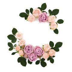 A rectangular frame made of pink roses. Isolated on white background. view from above. Spring floral composition.