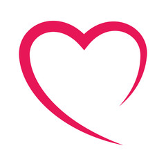 pink heart icon over white background. vector illustration
