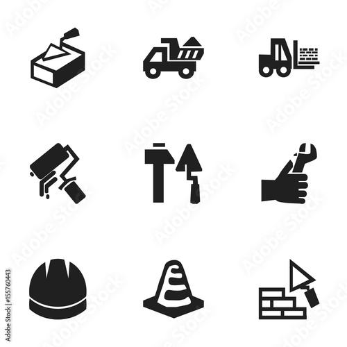Set Of 9 Editable Construction Icons  Includes Symbols Such
