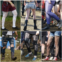 A combination photo showing stockings and shoes of women who are on their way to the 24th Wacken Open Air Festival 2013 in Wacken