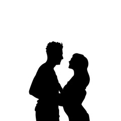 Black Silhouette Romantic Couple Holding Hands Looking At Each Other Isolated Over White Background Lovers Man And Woman Flat Vector Illustration