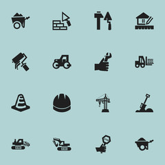 Set Of 16 Editable Construction Icons. Includes Symbols Such As Truck, Caterpillar, Facing And More. Can Be Used For Web, Mobile, UI And Infographic Design.