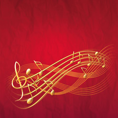 red musical background with gold notes and treble clef