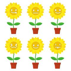 sunflower emoticon set