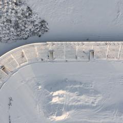 Ruins of the football stadium in Vilnius.