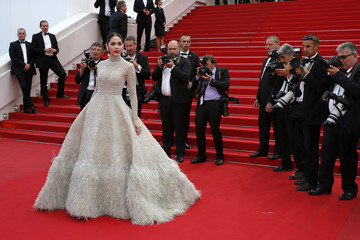 """British-Thai actress Araya A. Hargate poses on the red carpet as she arrives for the screening of the film """"Sicario"""" in competition at the 68th Cannes Film Festival in Cannes"""