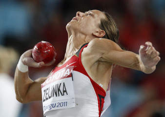 Zelinka of Canada competes during the shot put event of the heptathlon at the IAAF World Championships in Daegu