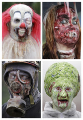 A combination picture shows enthusiasts dressed as zombies taking part in the annual Zombie Walk festival in Prague
