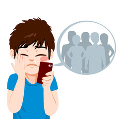 Young teenager boy suffering cyber bullying from anonymous people on-line on smartphone