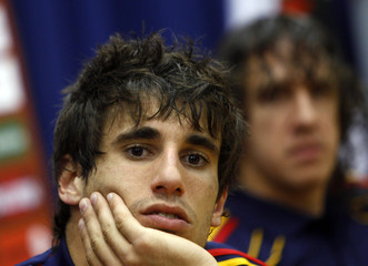 Spain's national soccer team player Javi Martinez listens to a question during a news conference at the Spanish Soccer Federation headquarters in Las Rozas, outside Madrid