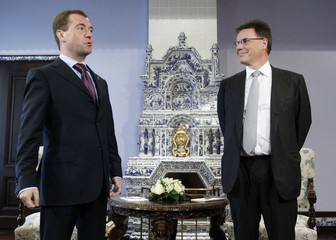 Russia's President Medvedev meets with Chief Executive of Nokia Company Kallasvuo at the presidential residence Gorki outside Moscow