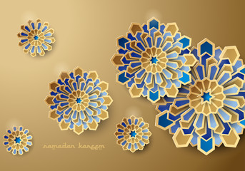 Paper graphic of islamic geometric art. Ramadan Kareem background with Islamic decorations.