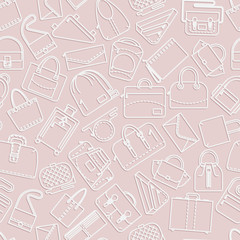 Seamless pattern. Different bags and cases in linear icons style. Pink color with shadow. Vector illustration.