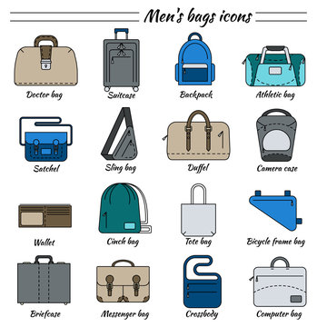 Set of 16 colorful pictures in linear style. Different types of men's bag. Backpack, athletic, satchel, sling, camera case, wallet, briefcase, messenger, crossboby etc. Vector illustration.
