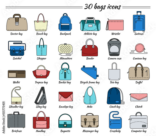 2eb4e96a0c51 Set of 30 colorful pictures in linear style. Different types of bag ...