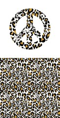Hippie peace symbol with leopard print. Fashion design for t-shirt, bag, poster, scrapbook
