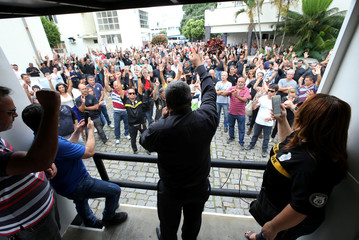 Members of civil police vote in favor of a strike after a policeman was killed in a shootout, according local media, in Vitoria