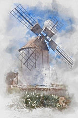 Windmill on Fuerteventura, watercolor