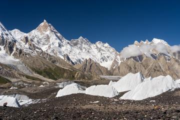 Masherbrum mountain peak or K1 mountain at Goro II camp, K2 trek, Skardu, Pakistan