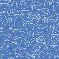 Seamless pattern. Different bags and cases in linear icons style. Blue color, easy to repaint. Vector illustration.