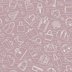 Seamless pattern. Different bags and cases in linear icons style. Pink colors with shadow. Vector illustration.