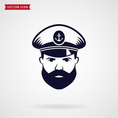 Ship's captain vector icon.