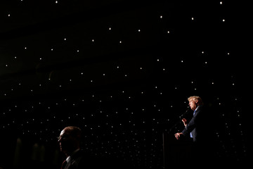 Republican presidential nominee Donald Trump speaks during a campaign rally in Cedar Rapids