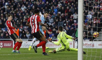 Stoke City's Marko Arnautovic scores their second goal