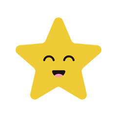 Cute cartoon happy star character with smile