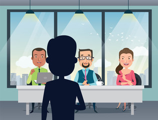 Job Interview with smiling human resource manager, specialists and a boss in office. Talent quest audition.